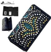 Montana West Bling Bling Collection Secretary Style Wallet Black