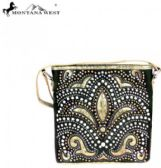 Montana West Bling Bling Collection Crossbody Bag Black beige