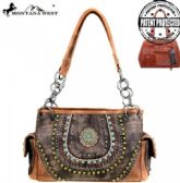 Montana West Concho Collection Concealed Handgun Satchel Brown