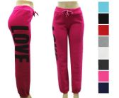 Ladies Fleece Lined Love Print Joggers - Assorted Colors Size S-M