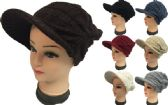 Knitted Lady Hats with Bill Winter Hats Solid Colors