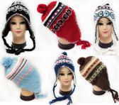 Knitted Fleece Lined Winter Hat with Ear Flaps Assorted assorted color fleece lined winter hats