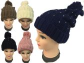 Rhinestone Knitted Winter Hat with Pompom Assorted