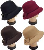 Women Lady Cloche Hat with Bow Assorted Colors