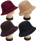 Women Lady Cloche Hat with Hat Band Assorted Colors