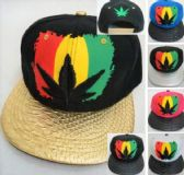 Rasta Color Marijuana Leaf Snapback Hats
