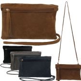 Faux suede fold over bag with tassel and snap closure with a matching cross body strap.