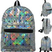 Mini fashion backpack in geometric print silver hologram material.