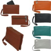 Small double pocket wristlet / clutch with additional backside zipper closure compartment.