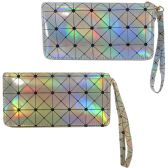 Geometric print metallic holographic one zip wallet with a wristlet.