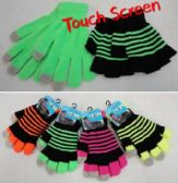 Double-Layer Neon Touch Screen Gloves [Stripes]