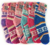 Warm Soft Fuzzy Socks with Snow Flakes Assorted