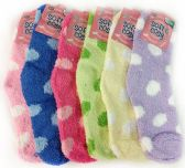 Warm Soft Fuzzy Socks with Polka Dots Assorted Colors