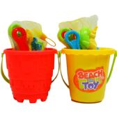 "5.5"" BEACH TOY BUCKET W/ ACCSS IN NET BAG, 2 ASSRT"