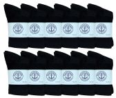 12 Pairs Of excell Kids Classic Black Ribbed Cotton Crew Socks-Black-Size:4-6-fits children's shoe size 7-10