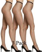 3 Pack Womens Fishnet Pantyhose, High Waisted Mesh Stockings, Black, by excell (Queen Size)