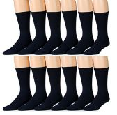 6 Pair Of excell Mens White Diabetic Neuropathy Socks, Edema, Loose Fitting (Navy)