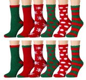 12 Pairs of excell Women's Christmas Holiday Striped Fuzzy Socks, # 24209,Assorted colors, 9-11