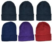 6 Piece Ladies Winter Toboggan Beanie Hats by excell Thermal Sport