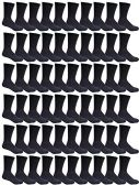 60 Pairs of Mens Sports Crew Socks, Wholesale Bulk Pack Athletic Sock, by excell (Black)