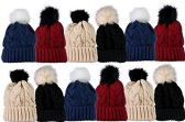 12 Units Of excell Mens Womens Warm Winter Hats In Assorted Colors, Mens Womens  (Pom Ribbed Beanies (Solid))