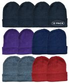 12 Piece Ladies Winter Toboggan Beanie Hats by SOCKSNBULK Thermal Sport