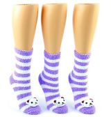 24 Pairs Pack of WSD Women's Fuzzy Ankle Socks, Value Pack, Casual Socks (3-D Cat Print, 9-11)