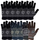 MB55 Mens Womens Design Winter Gloves, Stretchy and Warm (12 Pack Assorted)