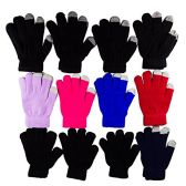 12 Pairs of WSD Winter Touchscreen Gloves for Men and Women, Warm Hands Fingers Outdoors (Assorted A, Womens)