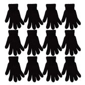 12 Pack of excell Acrylic Knit Gloves, Black, One Size Fits All