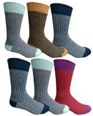 6 Pairs Of excell Mens Premium Winter Wool Socks With Cable Knit Design (Assorted D)