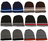12 Units Of excell Mens Womens Warm Winter Hats In Assorted Colors, Mens Womens  (Dark Stripes)