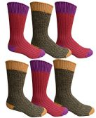 6 Pairs Of excell Mens Premium Winter Wool Socks With Cable Knit Design (Assorted E)