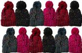 12 Units Of excell Mens Womens Warm Winter Hats In Assorted Colors, Mens Womens  (Pom Ribbed Beanies (Sparkles))