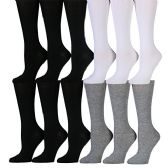 12 Pairs of WSD Womens Knee High Socks Assorted Colors, Cotton Boot Socks (Assorted (Black/White/Gray))
