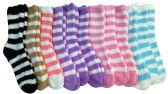 excell Womens Fuzzy Socks Crew Socks, Warm Butter Soft, 12 Pair Pack, Stripes A, 9-11