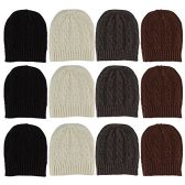12 Units Of excell Mens Womens Warm Winter Hats In Assorted Colors, Mens Womens  (Cable Knits)