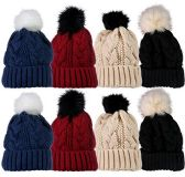 excell Value Pack Of Winter Beanie With Pom Pom, Assorted (8 Pack Solids With Faux Fur)