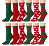 Excell Ladies Christmas Printed Holiday Socks (Assorted 12 Pack A) (Assorted 12 Pack B)