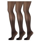 3 Pack of Mod & Tone Sheer Support Control Top 30D Womens Pantyhose(Black,QN-1)