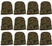 12 Units Of excell Mens Womens Warm Winter Hats In Assorted Colors, Mens Womens  (Green Camo)