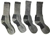4 Pairs of Excell Mens Merino Wool Socks for Hiking, Camping, Backpacking (10-13, Gray)