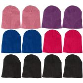 12 Pieces Of excell Girls Winter Ribbed Beanie Hat