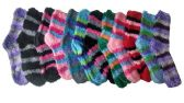 excell Womens Fuzzy Socks Crew Socks, Warm Butter Soft, 12 Pair Pack, Stripes B, 9-11