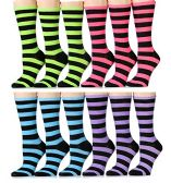 Yacht & Smith Ladies Thin Cotton Striped Crew Socks, Size 9-11