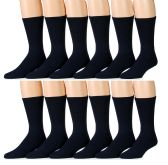 6 Pairs of Women's excell Diabetic Crew Socks, Ringspun Cotton, (Navy)