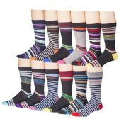 12 Pairs of excell Mens Fashion Designer Dress Socks, Cotton Blend (2800)