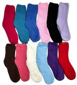 12 Pairs of excell Women's Solid Colored Soft Ladies Socks, Solid Fuzzy Socks ASSORTED COLORS,SIZE 9-11