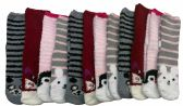 excell Womens Fuzzy Socks Crew Socks, Warm Butter Soft, 12 Pair Pack (Animal Gripper)