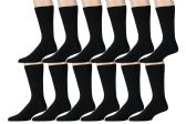 12 Pairs of Mens Dress Socks, Premium Cotton, Stretchy (White or Black) (Black)